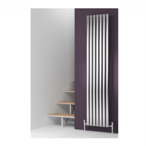 Reina Nerox Single Vertical Designer Radiator - 1800mm High x 354mm Wide - Brushed Stainless Steel